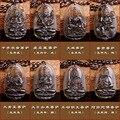JoursNeige Cristal Natural de Hielo Colgante de Obsidiana Ocho Guardián Doce Zodiaco Natal Buda Amuleto de la Suerte Collar de Las Mujeres de Los Hombres de Jade