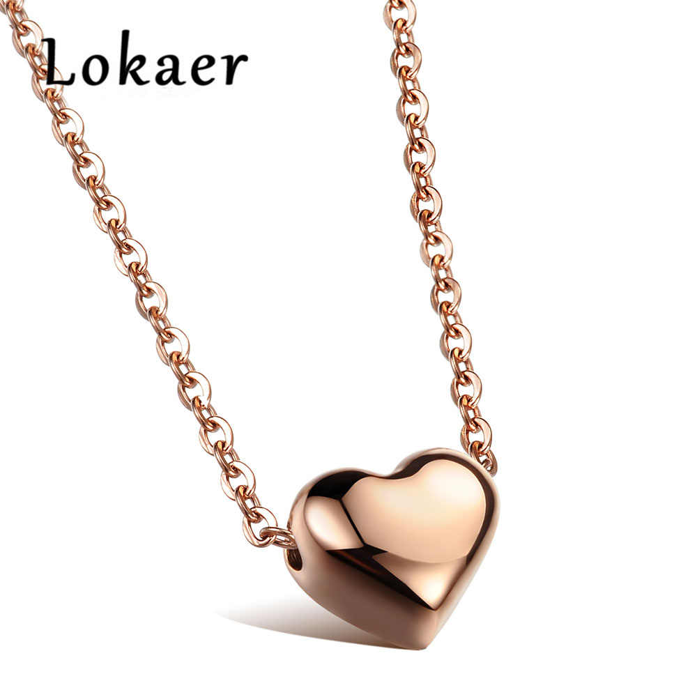 Lokaer Romantic Heart Pendants Chokers Necklaces Silver & Rose Gold Color 316L Stainless Steel Women Necklace Jewelry LGX985