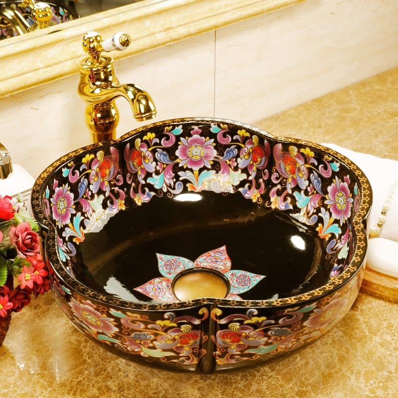Jingdezhen famille rose ceramic porcelain flower shape bathroom sink basin