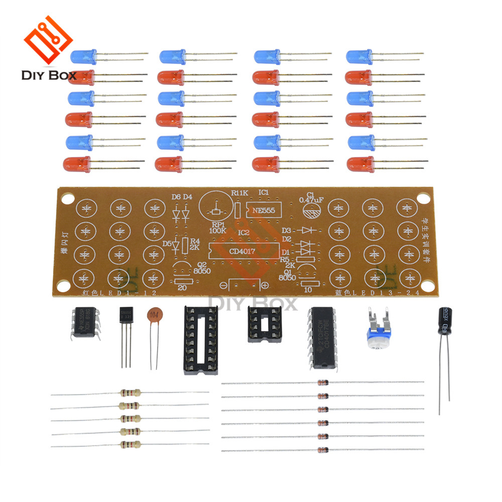 Red Blue Double Color Flashing Lights Kit Strobe Ne555 Cd4017 Two Led Flasher Circuit Uses Any Dc Supply From 3v To 12v Flash Rate 011184 2