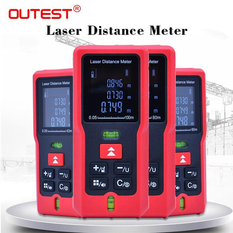 Outrest lcd digital laser rangefinder 40 m/60 m/80 m/100 m laser medidor de distância trena laser fita construir medida dispositivo régua ferramenta de teste
