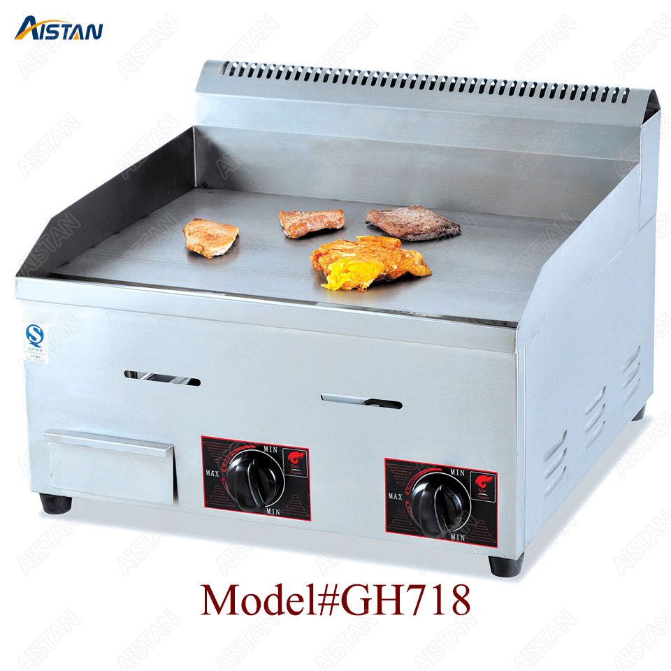 GH718 counter top desk gas commercial grill griddle machine with grooved for kitchen equipment