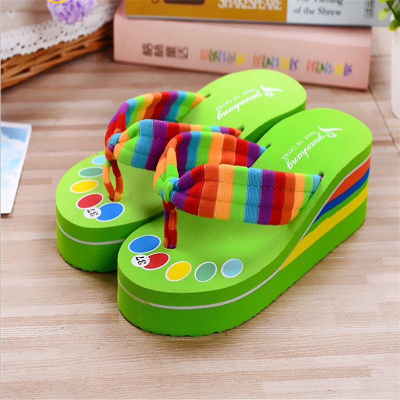 ff99279b3a12 Teen Girls Flip Flops Kids Casual Slippers Home Shoes Woman Home Sandals  Beach Swim Shoes Fashion Rainbow Cloth Thicken Heal EVA-in Slippers from  Mother ...