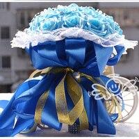 Linda Branco Marfim Rosa Roxo Da Dama de Honra Nupcial Da Flor Do Casamento Buquê de flores Artificiais Buquê Rosa Pérolas Buquês de Noiva