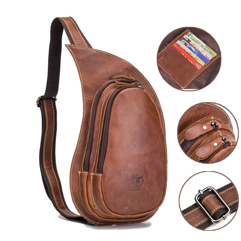 High Quality Men 100% Genuine Leather Cowhide Vintage Chest Back Day Pack Travel fashion Cross Body Messenger Shoulder Bag High Quality Men 100% Genuine Leather Cowhide Vintage Chest Back Day Pack Travel fashion Cross Body Messenger Shoulder Bag
