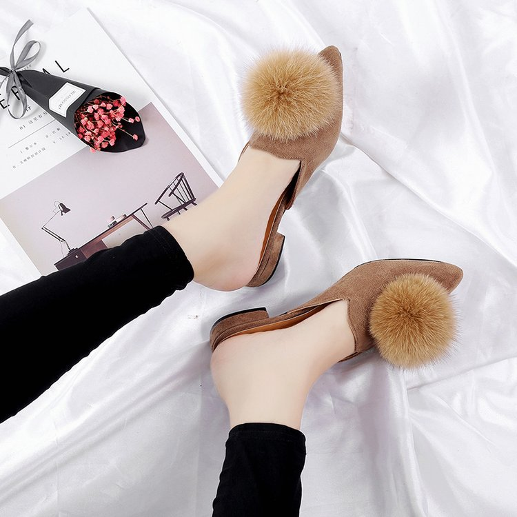 066P shoes out of female fashion wear fur ball thick with pointed066P shoes out of female fashion wear fur ball thick with pointed