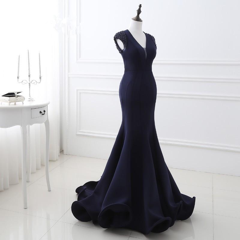 V-neck Short Sleeve Satin Mermaid Long Evening Dress