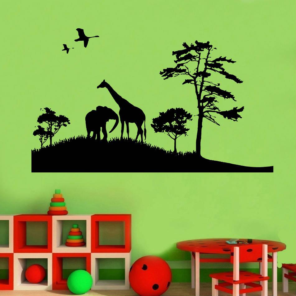 African Safari Elephant Giraffe Wall Decal Child Teen Boy Bedroom Living Room Vinyl Home Decor Art Wallpaper ER53-in Wall Stickers from Home & Garden
