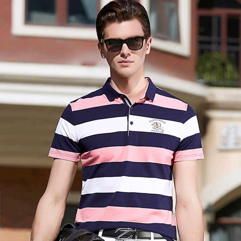 Tops & Tees Summer Fashion Menswear Business Casual Short Sleeve Polo Shirt Men Striped Lapel Paul Shirt Youth Embroidery Men Dress Pink