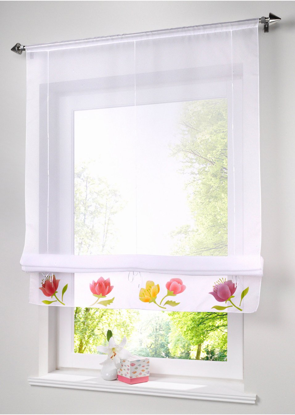 handmade roman blinds can lift window screening,voile kitchen/cafe/door/window curtains,floral decorate curtain