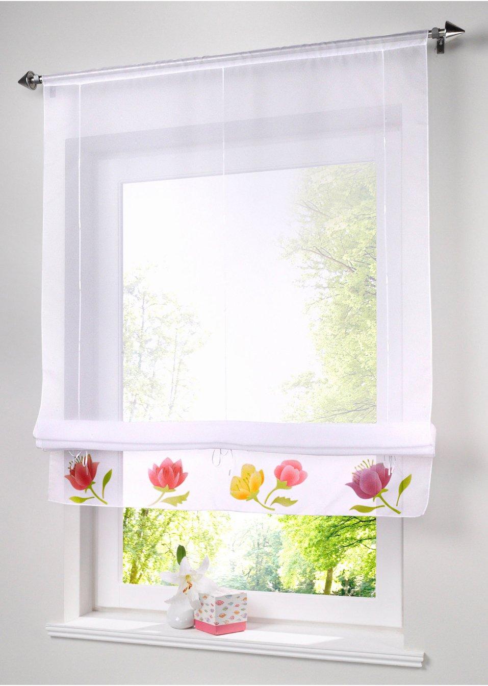tirai roman buatan tangan dapat mengangkat tirai jendela, voile dapur / cafe / pintu / tirai jendela, tirai bunga hias