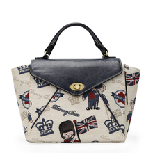 Vintage Jacquard Women Bears Embroidered Handbag Stylish Printing Flap Hand Bag Lady PU&Fabric Splicing Beige Black Shoulder Bag