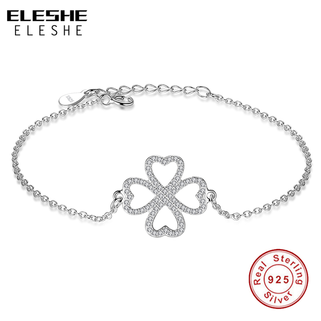 ELESHE 925 Sterling Silver Bracelet Women Silver Link Chain CZ Clover Heart Charm Bracelet For Women Romantic Wedding Jewelry