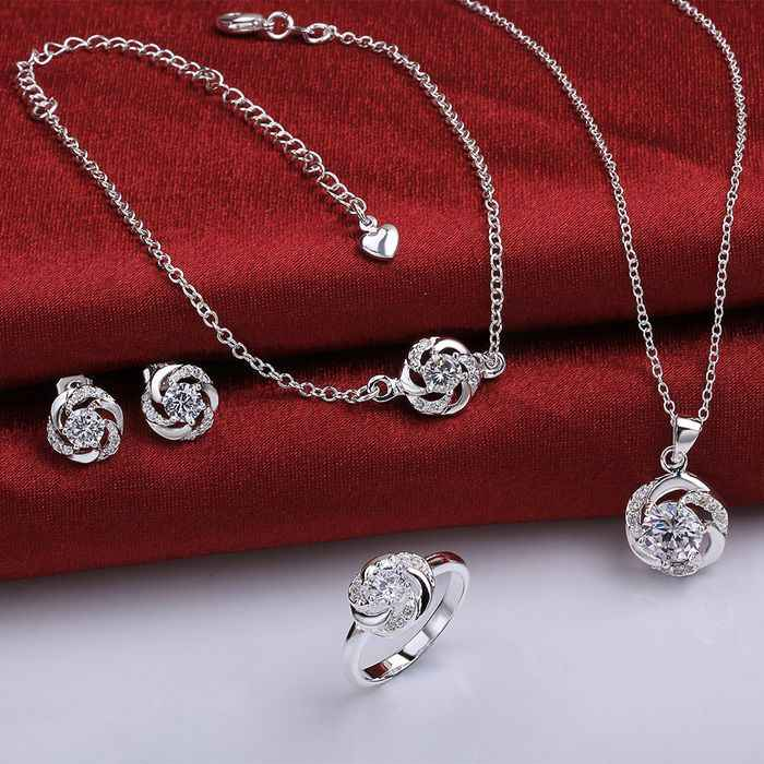 925 sterling silver jewelry set, fashion jewelry set A035-B Earring 438 Necklace 471 Ring 336-8 /imsardza ikfarbma S783-D