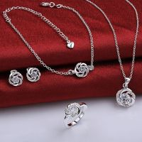 925 sterling zilveren sieraden set, Mode-sieraden set A035-B oorbel 438 ketting 471 ring 336-8/imsardza ikfarbma S783-D
