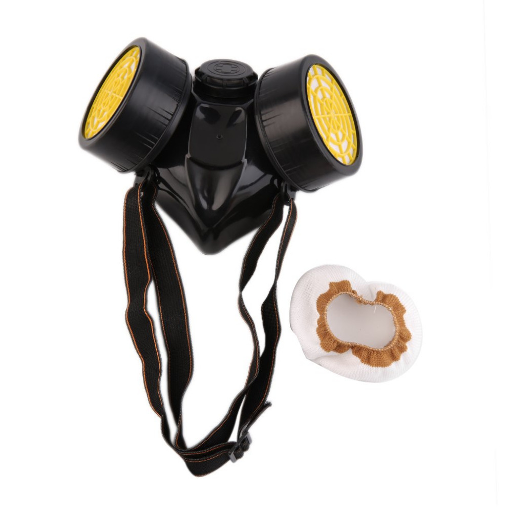 Black PVC Gas Mask Emergency Survival Safety Respiratory Gas Mask Anti Dust Paint Respirator Mask with 2 Dual Protective Filter
