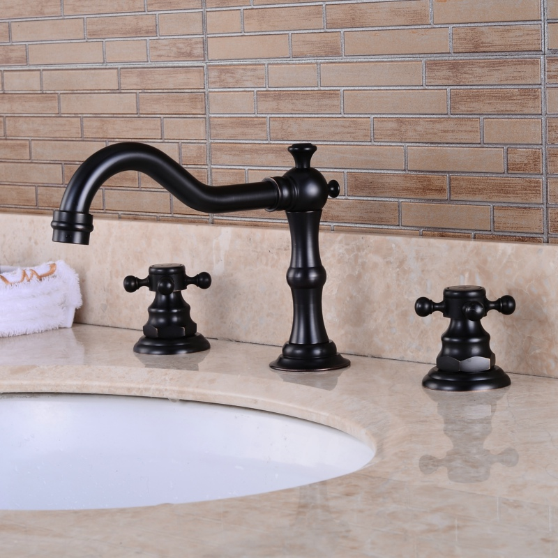 Free shipping Oil Rubbed Black antique brass faucet Deck mounted bathroom faucet Dual handle Basin Tap B-8025H