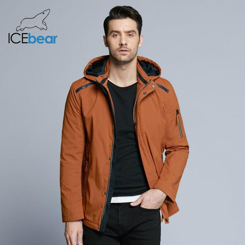 ICEbear 2019 Новинка мужская короткая тёплая весенняя куртка для отдыха и бизнеса ветрозащитная качественная парка со съёмным капюшоном MWC18040D