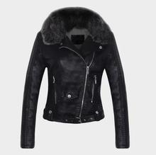 2018 autumn winter women pu leather jacket fur collar plus velvet thick warm coat female motorcycle