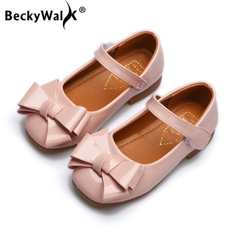 Beckywalk Frühjahr/sommer Kinder Leder Schuhe Süße Bowknot Prinzessin Baby Schuhe Komfortable Kinder Schuhe Mädchen Flache Schuhe Csh601