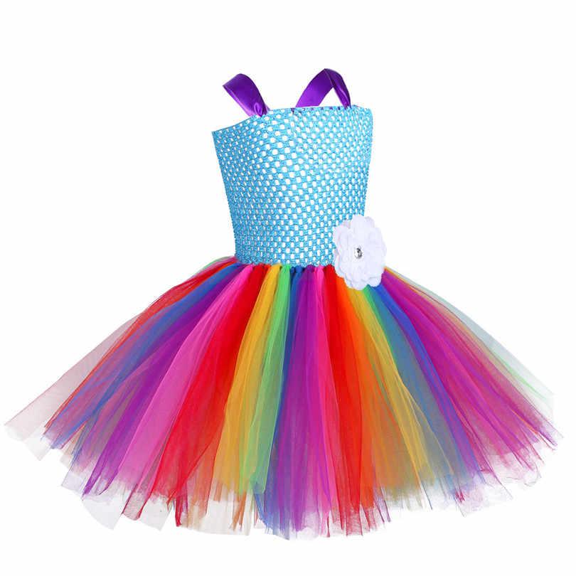 Детское Сетчатое регулируемое разноцветное бальное платье-пачка для девочек, Радужное балетное платье с ободком для волос, комплект костюмированной вечеринки на Хэллоуин