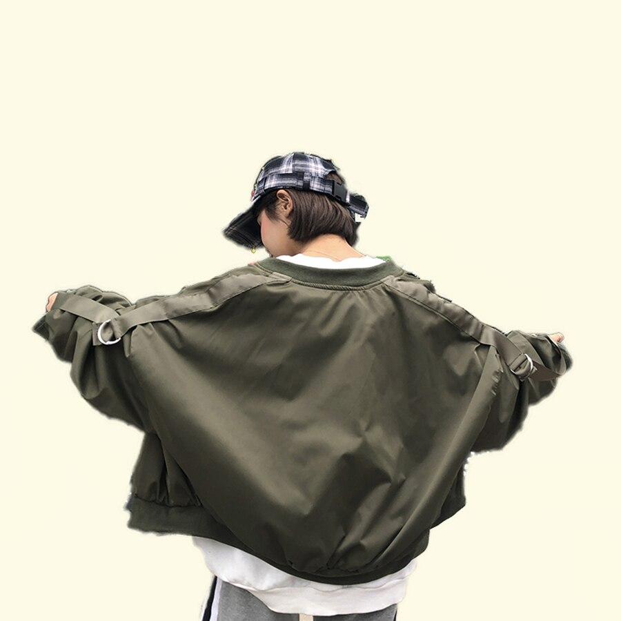 Harajuku ленты свободные негабаритных куртка Для женщин пальто уличной хип-хоп корейский Бейсбол куртка Повседневное Batwing женские куртки 50E0031