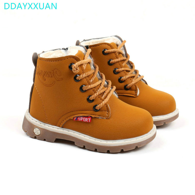 Kids Martin Boots 2017 New Child Winter Warm Shoes Plush Thicker Sole Sports Boys Girls  ...