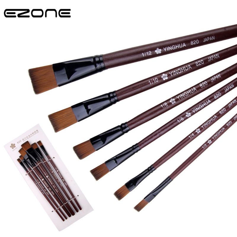 EZONE Creative Brown Painting Brush Nylon Hair Pen Waterbrush Flat Tip Acrylic Gouache Watercolor Oil Painting Art Tools Supply