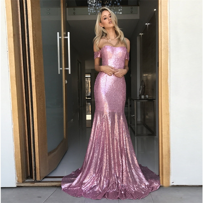 Sequins Mermaid Prom Gowns Sexy V Neck Floor Length Formal Party Dresses Fashion Ruffled Evening Gown