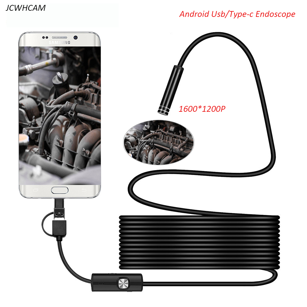 1200P Android PC Endoscope Camera USB TypeC Inspection Endoscope Semi Rigid 1m 2m 3.5m 5m Cable Led Light Waterproof Mini Camera