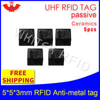 UHF RFID metal tag 915mhz 868mhz Alien Higgs3 EPC 5pcs free shipping 5*5*3mm very small square Ceramics smart passive RFID tags