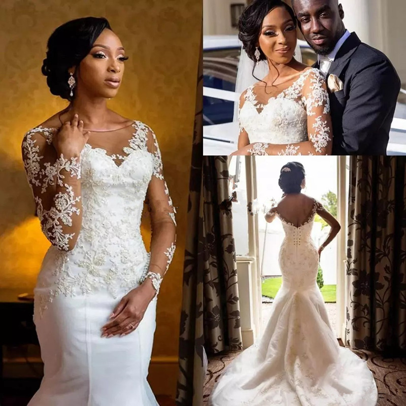 Vintage African Mermaid Wedding Dresses 2019 Vestido De Noiva Sheer Neck Long Sleeve Bride Gown Black Women Girls Wedding Dress