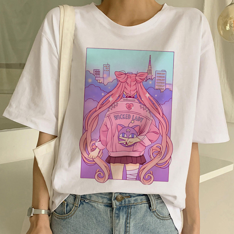Sailor Moon Summer New Fashion   T     Shirt   Women Harajuku Short Sleeve Fun Ulzzang   T  -  Shirt   Cute Cat Tshirt Cartoon Top Tees Female