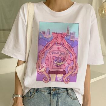 Sailor Moon lato nowe mody T koszula kobiety Harajuku z krótkim rękawem zabawy Ulzzang koszulka słodkie koszulka dla kota Cartoon koszulki kobiet tanie i dobre opinie Topy Tees Modalne Na co dzień Suknem NONE REGULAR O-neck sailor moon t shirt sailor moon t-shirt sailor moon tshirt sailor moon shirt