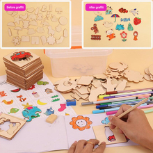 MrY Kids 50Pcs School Painting Tools Toy Baby Educational Set Children Drawing Learning Model Wooden Toys