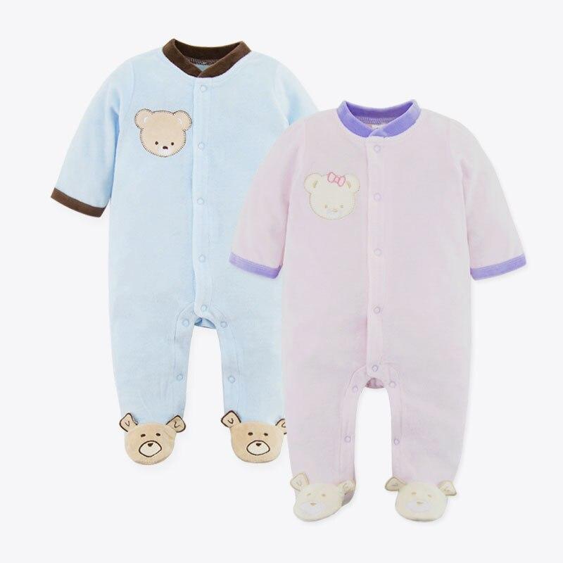 Baby Bear Velvet Rompers Newborn Polar Fleece Similar Romper 2pcs/lot Baby Jumpsuit Coral velvet Autumn/Winter Children Clothes