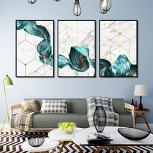 Nordic Marbled Green Abstract Lines Gold Line Canvas Painting Modern Home Decoration Art Poster Wall Pictures for Living Room