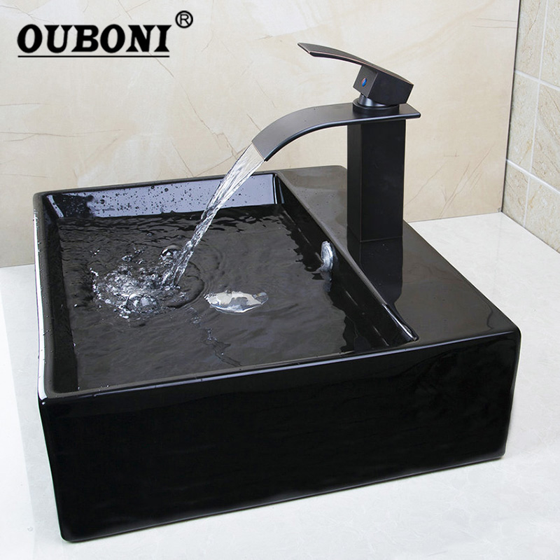 OUBONI Black Bathroom Sink Black Ceramic Washbasin Oil Bronze Basin Brass Faucet Bath Combine Brass Set Faucet Mixer Tap ouboni 3pcs set bathtub luxury golden plated bathroom faucet european split basin mixer tap ceramic faucet body cross handles