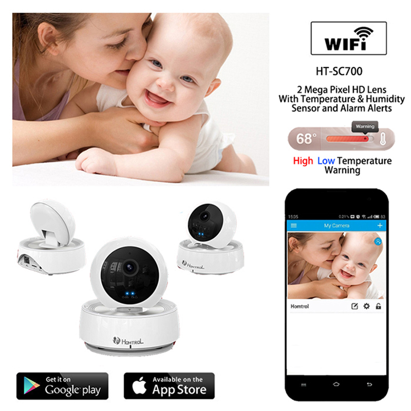Home and Office Wifi IP Security Surveilliance Camera with Enhanced Night Image and Temperature & Humidity Sensor Free APP Alarm