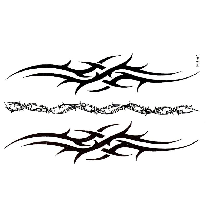 New Tatoo Bracelet Black Waterproof Temporary Tattoos Men Cover Simulation Harajuku Totem Tattoo Sticker Wholesale