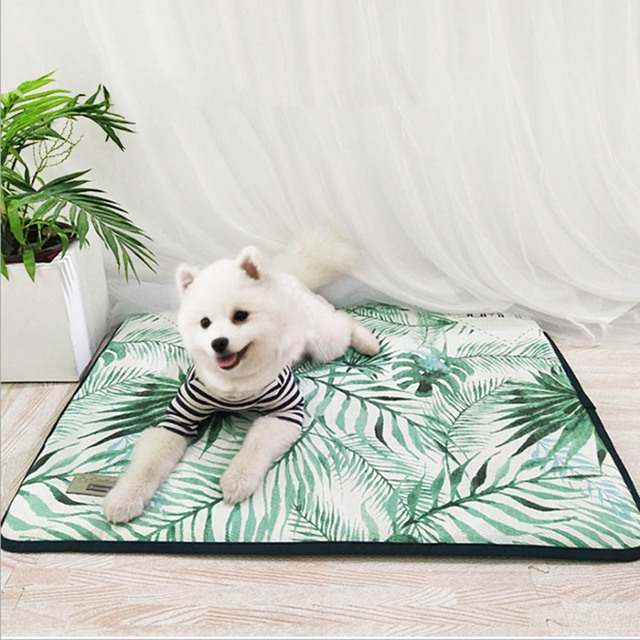 3D Print Summer Ice Silk Pet Dog Cooling Mat For Cat Dogs Floor Mats Blanket Sleeping Bed Cushion Cold Pad 4 Size Pet Supplie