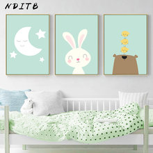 Moon Baby Nursery Wall Art Canvas Painting Rabbit Bear Cartoon Animal Posters and Prints Pictures Nordic Kids Room Decoration(China)