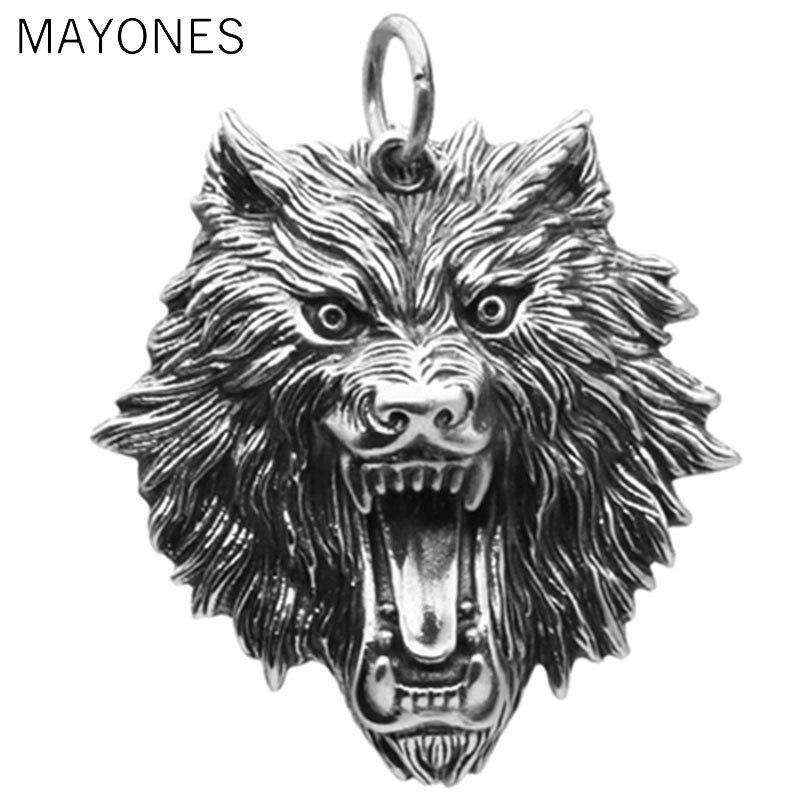 MAYONES Vintage pendentif 100% réel 925 bijoux en argent Sterling hommes femmes Animal tête de loup collier pendentif livraison gratuite