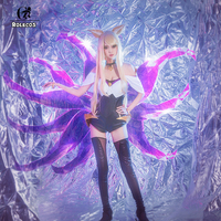 ROLECOS Game LOL Cosplay Costumes Group K/DA Ahri Lead vocal Sexy Dress Costumes Group KDA Ahri for Women Cosplay Costumes