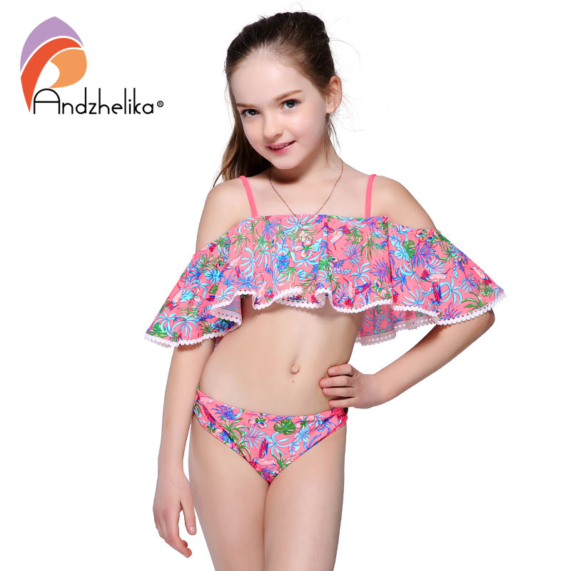 Andzhelika Children's Swimwear 2018 Summer Girls bikinis Set Print Two-Piece Suits Ruffle Swimwear Swimming Suit Bathing Suit