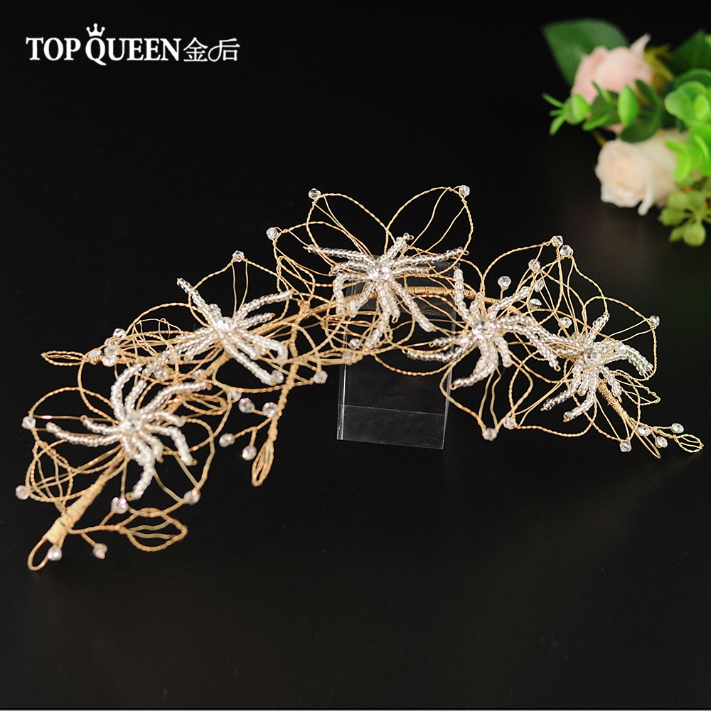 TOPQUEEN Bridal Hair Accessories Golden Beaded Wedding Crown Bridal Hair Jewelry For Girl Party Bridal Tiara HP210