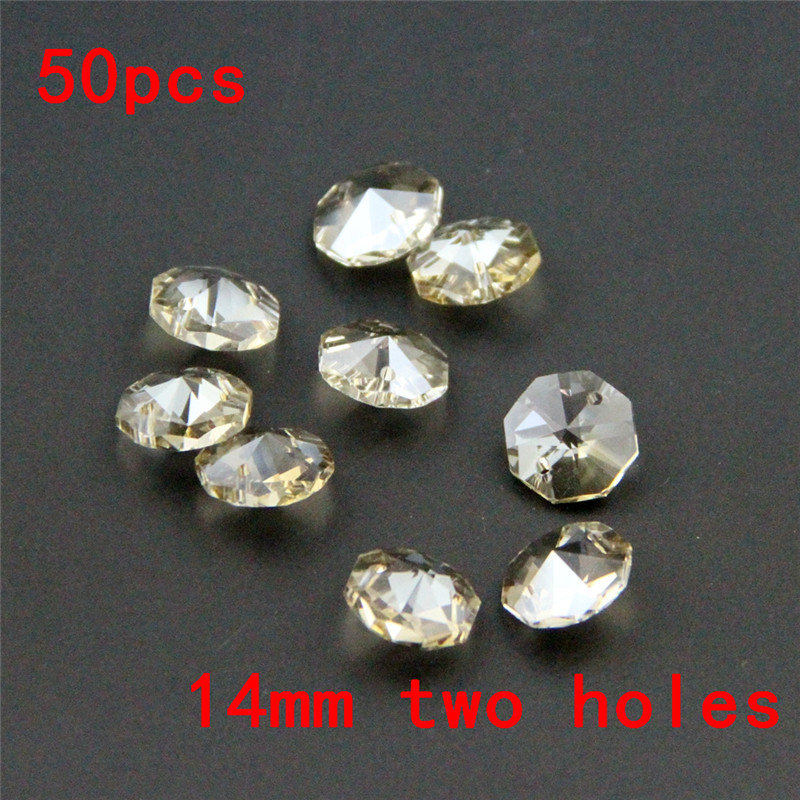 Free Shipping 50pcs/Lot 14mm Cognac Crystal Chandelier Parts Octagon Beads In 2 Holes,Curtain Strand Or Lamp Accessories