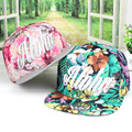 2016  fashion cap for summer dress flat brim hip hop snapback hat  full cotton fabric flral design Aloha logo embroidered