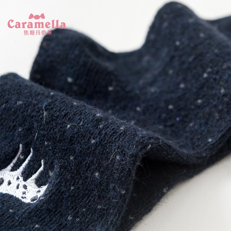 4 Pairs Lot Caramella Men 39 s Socks for Winter Embroidery Dog Pattern Crew Socks Mid calf Length Warm Solid Color in Men 39 s Socks from Underwear amp Sleepwears