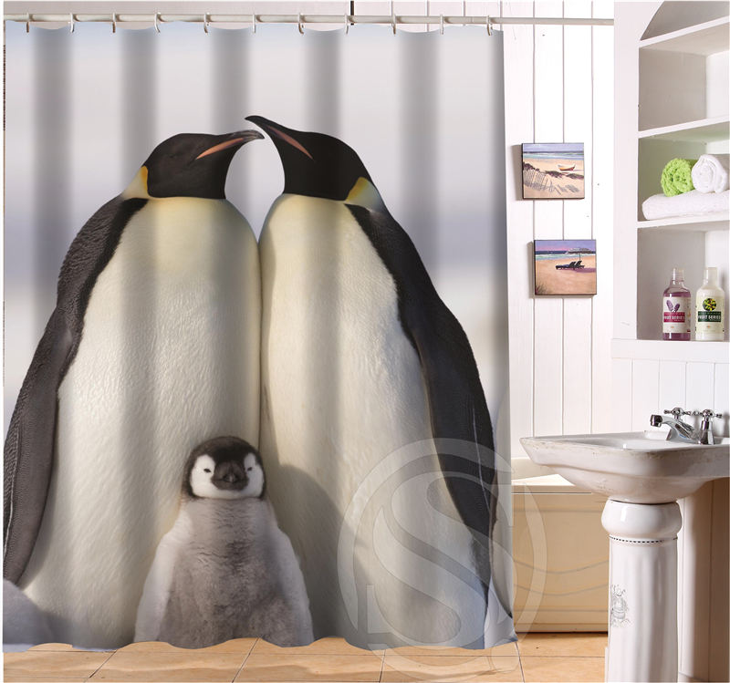 NEW Modern Design Bath Curtain Print Emperor Penguins Shower Curtains  Bathroom Waterproof Free Shipping SQ0623 J3487